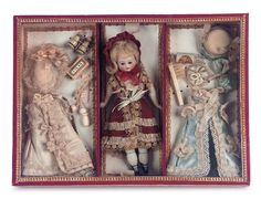 antique doll's presentation box | original presentation box and trousseau