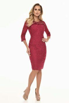 Vestido vermelho em ilusion e renda guipir 1 Achei Meu