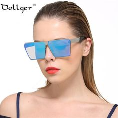 7ffd3dd7aa119 FuzWeb Dollger er Big Square Flat Top Sunglasses Women Men Mirror Glasses  rose gold Frame