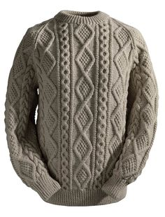 Aran Sweater Market: Support your Irish clan by buying an authentic Irish Fisherman Sweater direct from the Aran Islands. The Irish Clan Sweater is also known as an Aran sweater & is Ireland's best known heritage clothing. Baby Cardigan Knitting Pattern Free, Aran Knitting Patterns, Mens Cable Knit Sweater, Gents Sweater, Cross Stitch Cushion, Knitted Coat, Dark Hair, Irish Sweaters, Style