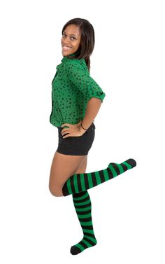 f15509c7c Black & Green Striped High Socks Green Stripes, Neon Green, Striped Socks,  Knee