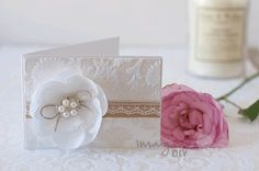 DIY thank you card with flocked detail. DIY wedding stationery ideas using flocked paper, pearl embellishments and lace
