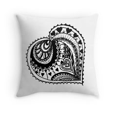 Zentangle Valentine Heart Black & White - now available in a range of items on my Redbubble site.
