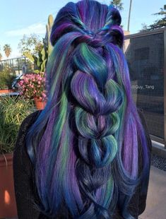20 Blue and Purple Hair Ideas Dark Blue Hair With Green And Purple Highlights Purple And Green Hair, Dark Blue Hair, Peacock Hair Color, Hair Color Blue, Mermaid Hair Colors, Blue Wig, Hair Colours, Frontal Hairstyles, Cool Hairstyles