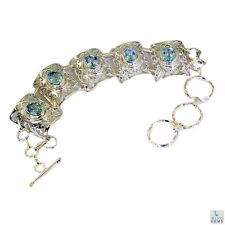 Blue Topaz Silver charming gemstone Bracelet Blue L-7.5in UK gift