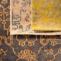 Spotted at Surya's showroom- rich textured hand-knotted Bagras Collection rugs.