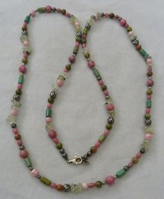 "36"" LONG CAROLYN POLLACK RELIOS STERLING SILVER RHODOCHROSITE GEMSTONE NECKLACE"