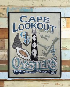 Cape Lookout Oysters NC Crystal Coast seafood print Restaurant or bar decor beach house decor oyster art and lighthouse collectors by ZekesAntiqueSigns on Etsy Painted Signs, Hand Painted, Distressed Signs, Antique Signs, Sign Printing, Hand Painting Art, Beach House Decor, Diamond Pattern, Beach Themes