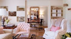 Create Display Cubbies - 108 Living Room Decorating Ideas - Southern Living - Cozy built-in cubbies provide the perfect place to display antique collectables and heirlooms in this living room space.   	See this Stylish Space