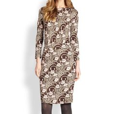 """Tory Burch Coconut Floral Runway Dagny Dress The curving floral motif of the Dagny dress embodies a botanical theme. Featured in the most-recent fall runway show, this effortless day-to-evening style is made of silk interlock – jersey-like knit known for its ultra-flattering fit.100% Silk. Pickstitch at waist. Three-quarter length sleeve with invisible zipper at left side. Length {40"""".} Coconut brown with pale pink florals. Tory Burch Dresses"""