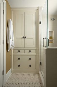 Replace our tiny walk in shower with (much needed) storage and turn tub into much nicer tub/shower combo