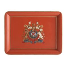 Orange Coat of Arms Tray/There is a matching table stand!