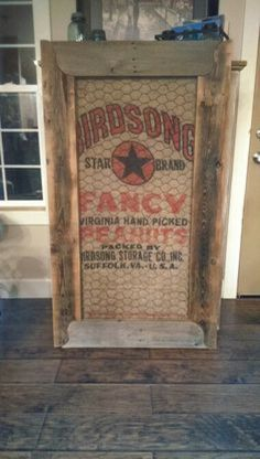 repurposed burlap feed bag, chicken wire and barn wood frame Burlap Projects, Burlap Crafts, Wood Crafts, Diy Projects, Diy Crafts, Chicken Wire Crafts, Chicken Wire Frame, Burlap Coffee Bags, Coffee Sacks