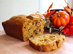 Pumpkin Spice Cake recipe, a sweet loaf cake quick bread with pumpkin, raisins, cinnamon and spices. Sukkot, Thanksgiving, autumn, fall, harvest.
