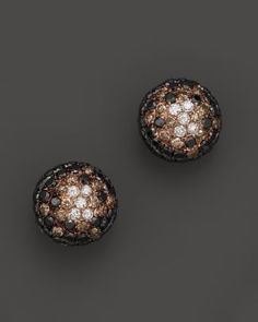 Black and Brown Diamond Earrings in 14K Rose Gold