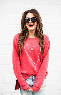 HEART SWEATSHIRT (FULL VALENTINE'S COLLECTION HERE) | DISTRESSED BOYFRIEND JEANS (SIMILAR HERE) | GUCCI BAG (SIMILAR HERE) | SUNGLASSES | LIPSTICK (COLOR: RUBY WOO) | NUDE HEELS It's Mo…
