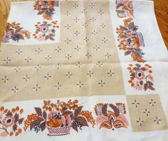 Vintage Linen Table Cloth  Flowers Tan Brown Pink by vintagelady7