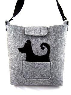 Tasche - Damentasche - Handtasche - Filztasche - Hund
