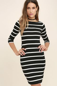 As Seen On Caitlin of Dash of Darling blog! Fit for a queen, yet casual enough for the rest of us, the Heir Lines Black Striped Dress packs chic, versatile style into one very affordable dress! You're going to love this stretchy jersey knit dress with it's white and black striped pattern, boat neckline, and fitted three-quarter sleeves, plus a body-con fit that's modest enough to wear to work.
