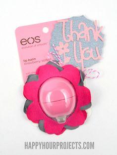 No-Sew EOS Flower Lip Balm Gift at www.happyhourprojects.com #tshirtcrafts