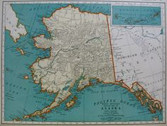 1937 Vintage ALASKA Map Gallery Wall Art Library by plaindealing