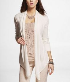POINTED HEM OPEN COVER-UP SWEATER at Express gray black