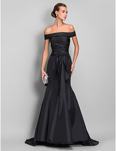 trompete / sereia off-the-ombro varrer / escova treinar vestido de tafetá vestido de noite 742633 - EUR € 90.90