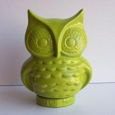 Owl Bank Vintage Design in Apple Green Ceramic di fruitflypie, $39.99