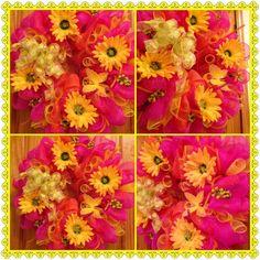 Spring/Summer Deco Mesh Wreath..