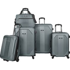U.S. Traveler Bloomington 5-Piece Spinner Luggage Set (3.280 ARS) ❤ liked on Polyvore featuring bags, luggage and grey