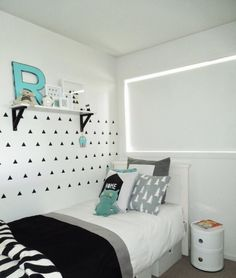 Monochrome & aqua boys room