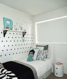 Monochrome & aqua boys room