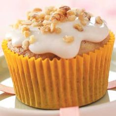Walnut Banana Cupcakes Recipe -What makes these tender banana cupcakes extra special is the nutmeg, but make sure it's fresh. They're amazingly good; I get request for them all the time. —Rachel Krupp, Perkiomenville, Pennsylvania
