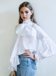 Bow Blouse White Cotton from mahsa.co.nz