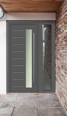 104 reference of grey composite front door cost Modern Entrance Door, Modern Exterior Doors, Modern Front Door, Front Door Entrance, Exterior Front Doors, House Front Door, Front Door Design, Entry Doors, Pivot Doors