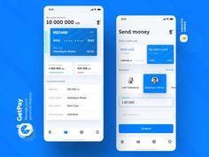 GetPay | Finance Mobile App UI UX by 𝓒.𝓤 | Creative Uzbek | Dribbble Mobile App Ui, Show And Tell, Ui Ux, Ui Design, Finance, Creative, Money, Silver, Economics