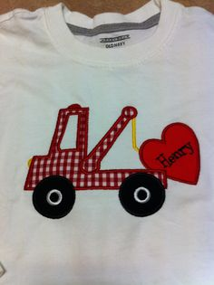 Valentine Tow Truck appliqued tee
