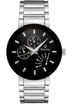 Bulova 96C105 Watches,Men's Black Dial Stainless Steel, Men's Bulova Quartz Watches