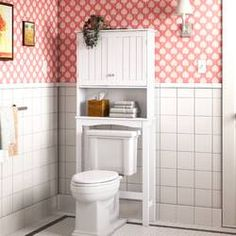 Latitude Run® Jordane 34'' W x 38.5'' H x 7'' D Over-The-Toilet Storage & Reviews | Wayfair Cubby Shelves, Cabinet Shelving, Storage Cabinets, Cabinet Doors, Open Shelves, Over The Toilet Cabinet, Over Toilet, Toilet Storage, Bathroom Storage