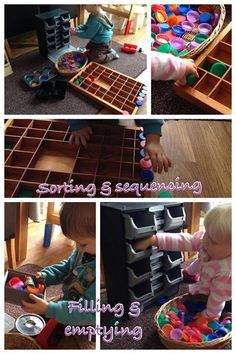 """Filling & emptying, sorting & sequencing with milk carton tops at Cathy's Childminding ("""",)"""