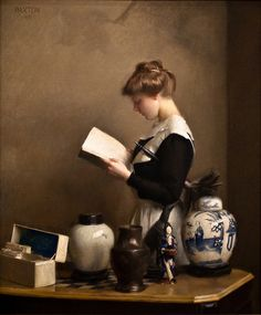 The Housemaid (1910). William McGregor Paxton (1869-1941). Oil on canvas. Paxton and other Boston School artists shared an interest in the 17th century painter Jan Vermeer. The maid's trance-like state, the painting's strong lighting, and the precisely painted still life on the game table all recall the work of the Dutch artist.
