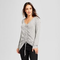 Women's Long Sleeve Heathered Ruched Front Top - A New Day™