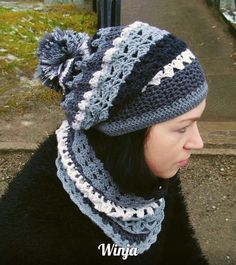 Hat and scarf set knitted scarf gray scarf hat hand by OnGoodLuck
