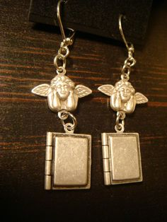 Angel Cherub Tiny Book Locket Earrings 1372 by ClockworkAlley, $21.00
