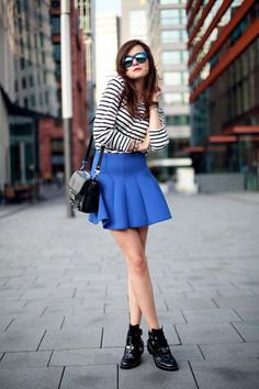 Like the blue with the stripes. Skirt prob too short. Are you in to booties like this? But you can think of the long maxi blue skirt with Striped shirt, plain white/cream skirt...Anything you want. MD