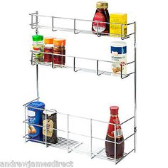 Andrew James 3 Tier Spice Herb Jar Rack Bottle Holder Wall Kitchen Cupboard Door