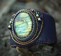 purple bracelet - bead embroidery bracelet - cuff bracelet  - labradorite bracelet - beaded cuff bracelet by suzidesign. Explore more products on http://suzidesign.etsy.com