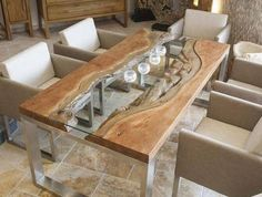 Nice wood slab dining table designs glass wood metal modern dining room furniture The post wood slab dining table designs glass wood metal modern dining room furniture… appeared first on . Wood Slab Dining Table, Dining Table Design, Modern Dining Table, Dining Room Table, Rustic Table, Rustic Wood, Glass Wood Table, Small Dining, Diy Table