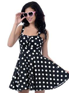 Polka Dot Audrey Hepburn Sundress Vintage Style 50S Sleeveless Cotton Swing Party Harness Dress