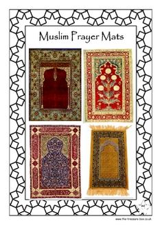 A guide describing what Islamic prayer mats are, what they look like and why they are used. This resource also includes different design ideas and a simple craft activity for use with children. Once completed these colourful mats will make a lovely Islamic display ~ perfect for Ramadan or Eid.